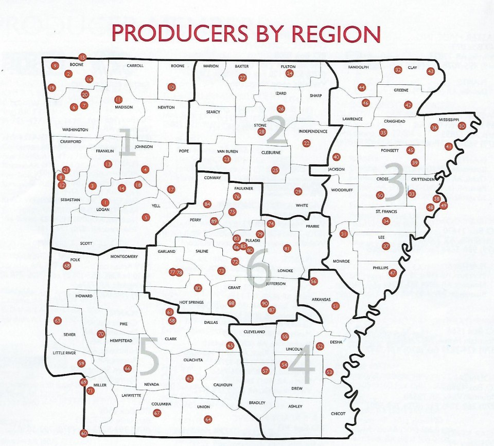 Producers by Region Map